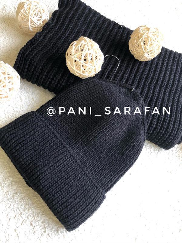 Комплект: шапка + хомут (чорний)