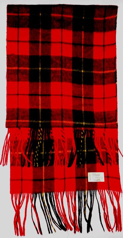 Красный шарф в клеточку акрил италия   150х30