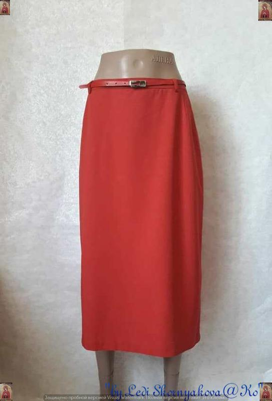 Новая базовая юбка миди красивого красно-кирпичного цвета с по...