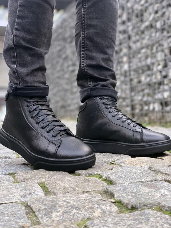 Мужские❄️зимние❄️кожаные чёрные кроссовки/ботинки с нат. мехом...