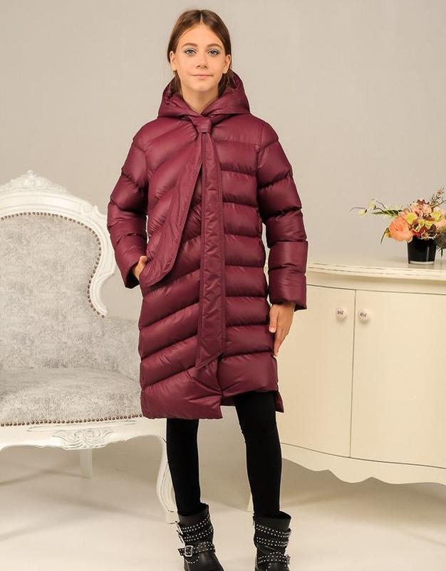 Бордовая яркая куртка детская все размеры зимняя пуховик