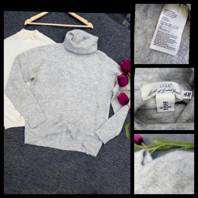 Трендовый объемный свитер с составе шерсть альпаки раз. l