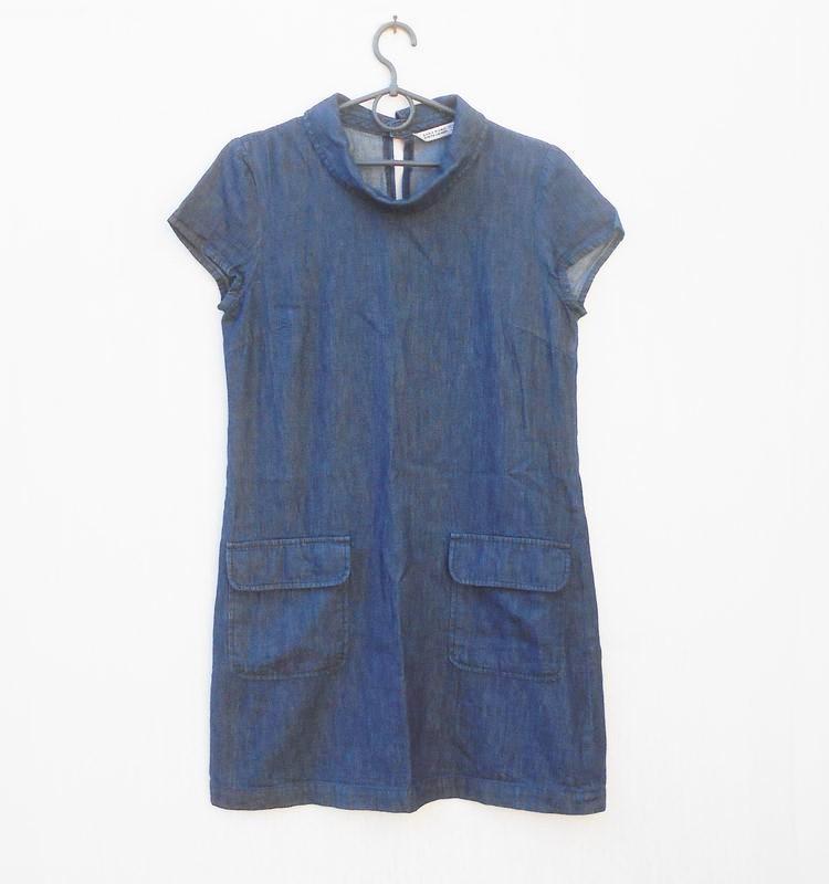 Джинсовое летнее платье с коротким рукавом zara
