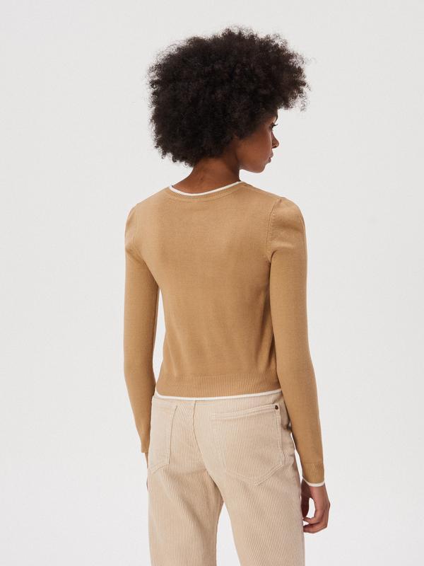 Новая широкая короткая светло-коричневая песочная бежевая кофт... - Фото 4