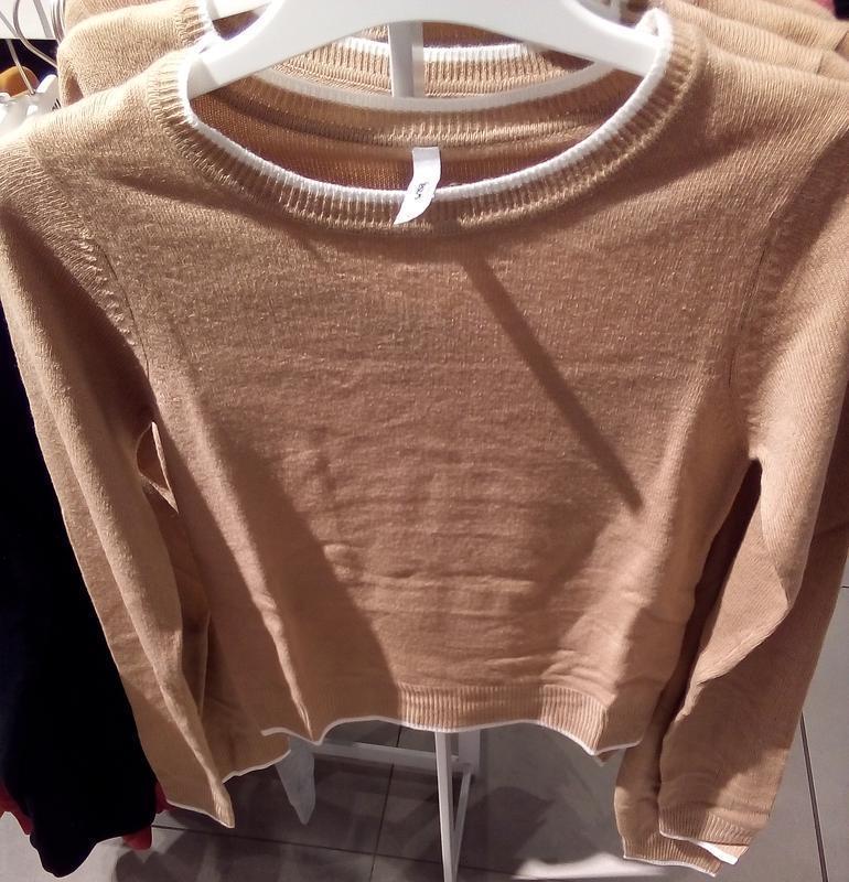 Новая широкая короткая светло-коричневая песочная бежевая кофт... - Фото 5