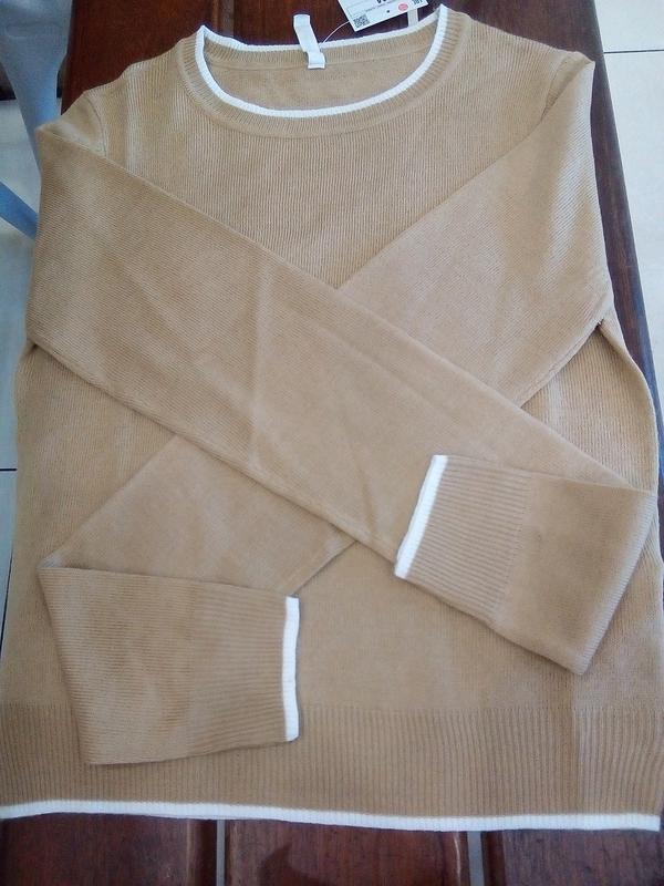 Новая широкая короткая светло-коричневая песочная бежевая кофт... - Фото 6