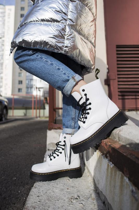 😍dr. martens jadon white winter😍зимние женские белые кожаные б...