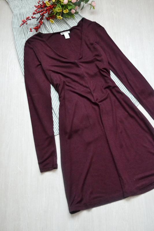 Базовое платье шикарного цвета бордо с длинным рукавом h&m