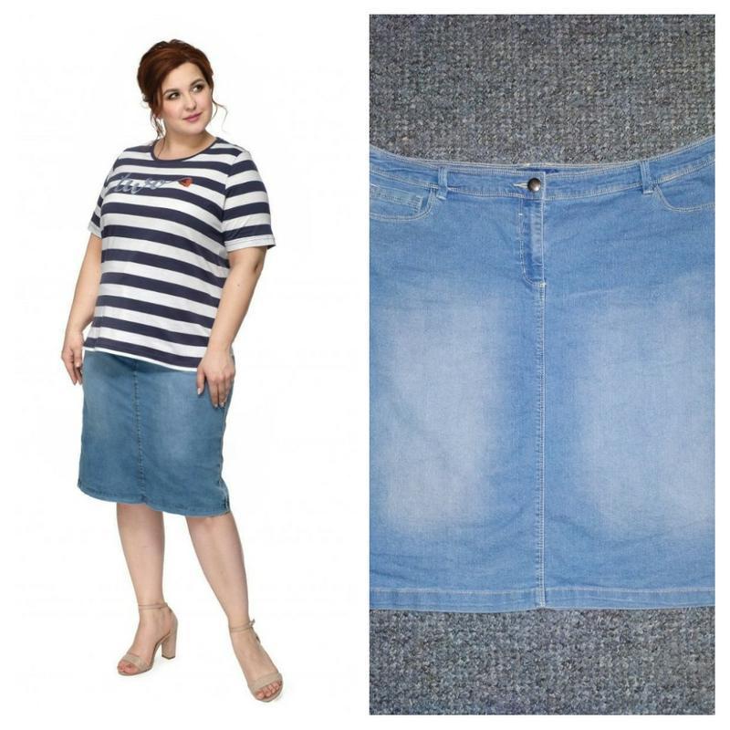 Стильная джинсовая юбка до колен bhs на пышные бедра