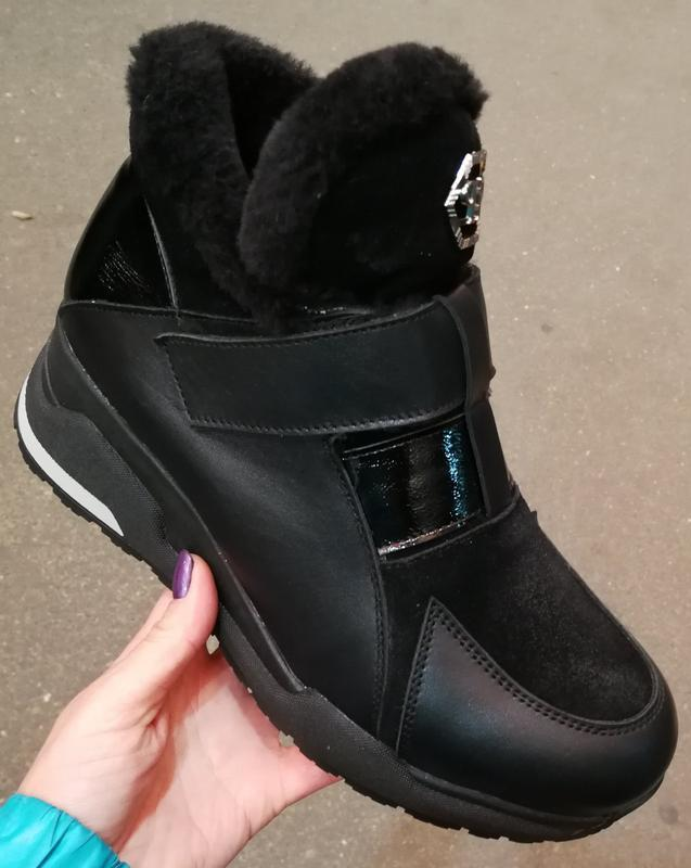 Philipp plein зима! женские ботинки с мехом кожа полуботинки н...