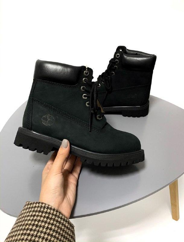 Шикарные женские термо ботинки timberland black термо