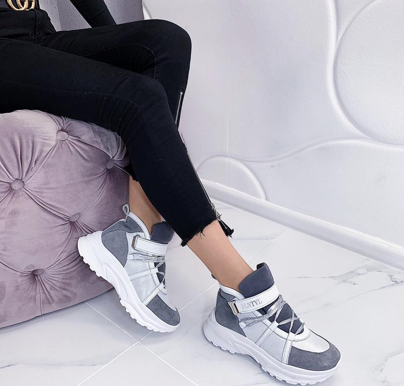 Новые женские зимние кожаные серые кроссовки