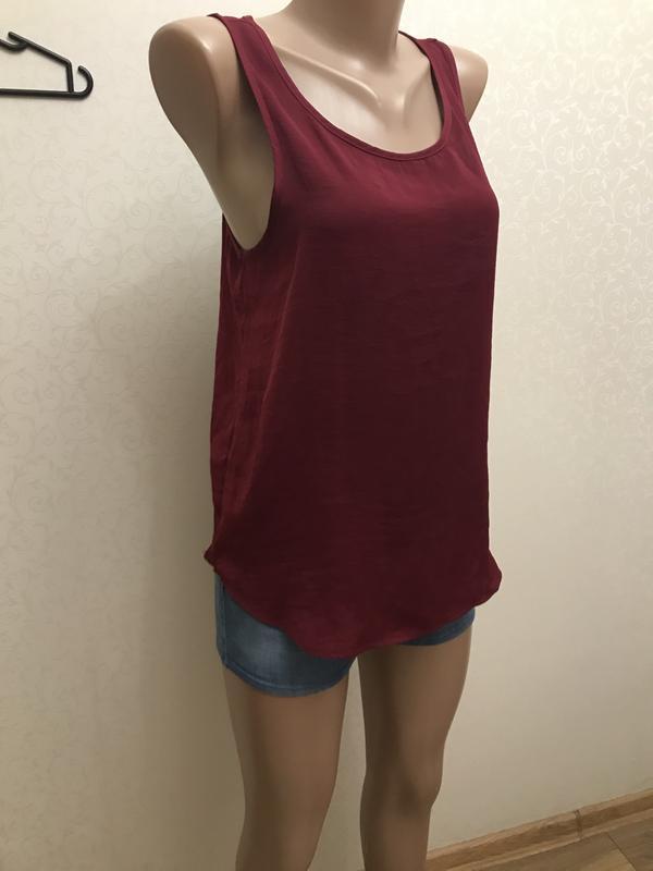 Длинная майка, блуза, красный, stradivarius - Фото 2
