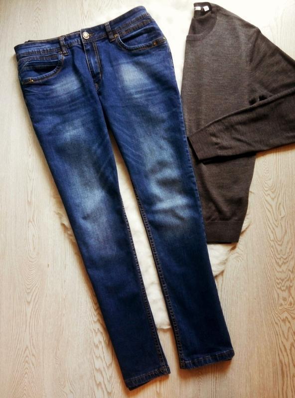 Мужские синие джинсы стрейч прямые плотные батал большой разме...