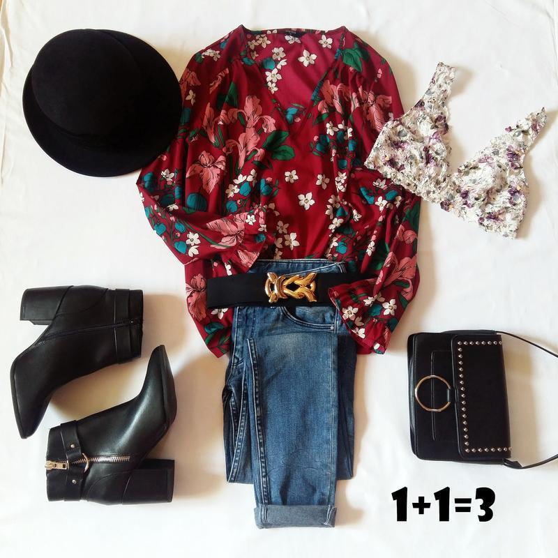 Papaya стильная блузка m 46-48рр цветочный принт длинный рукав...