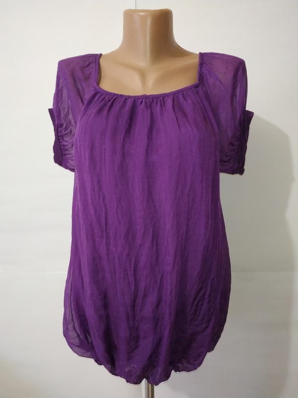 Блуза шелковая фиолетовая итальянская uk 14/42/l 100% шелк