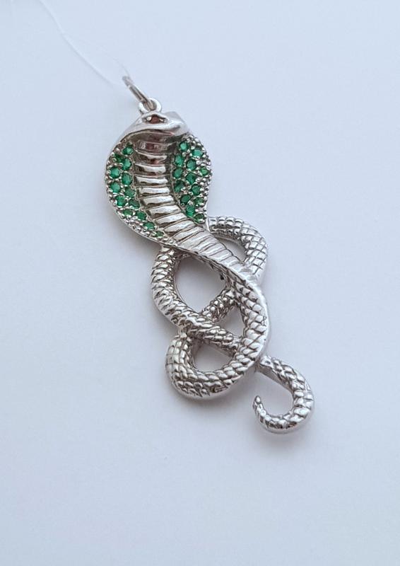 Серебряная подвеска кобра