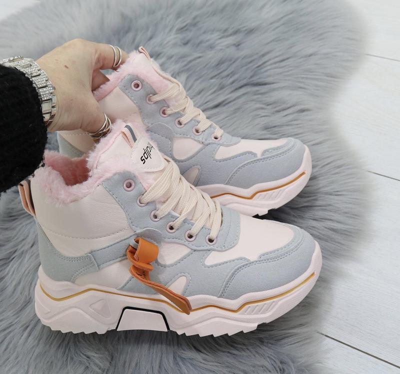 Новые шикарные женские зимние пудровые кроссовки
