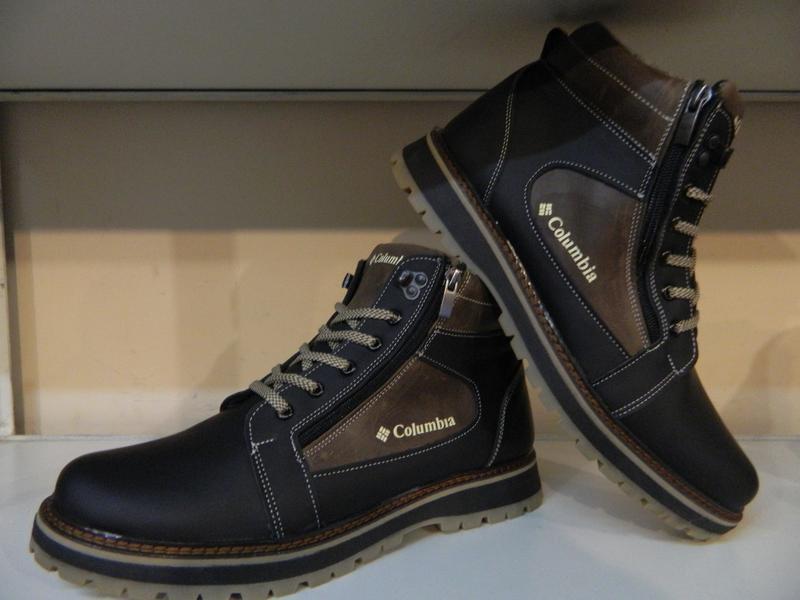 Зимние мужские ботинки на шнурках и двух молниях кожанные в ст... - Фото 7
