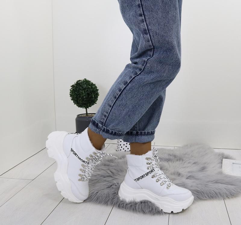 Новые шикарные женские зимние белые ботинки