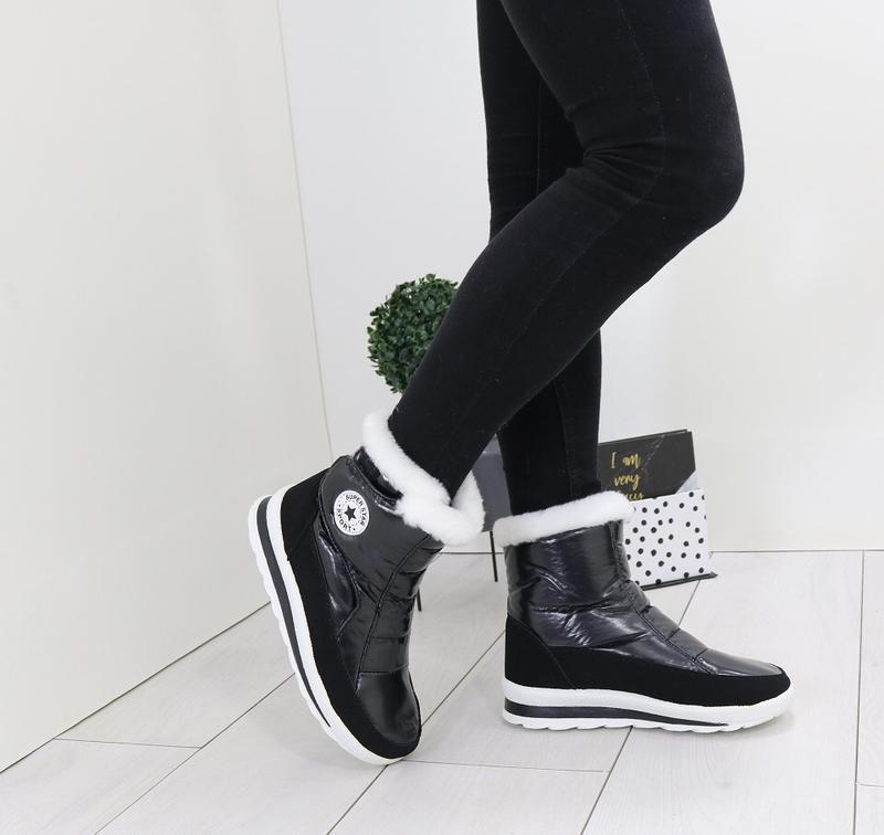 Новые шикарные женские зимние черные дутики ботинки