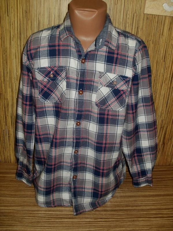 Рубашка на 8-9 лет с длинным рукавом в клетку