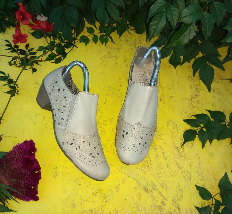 Кожаные туфли мокасины rieker р 38 германия