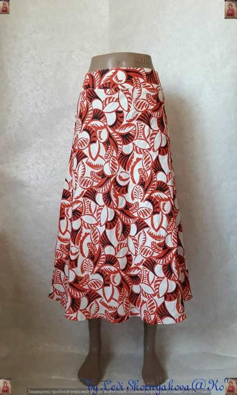 Новая красивая юбка миди со 100%льна в оригинальную абстракцию...