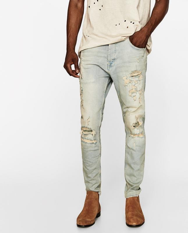 Чоловічі джинси з рваними колінами zara man