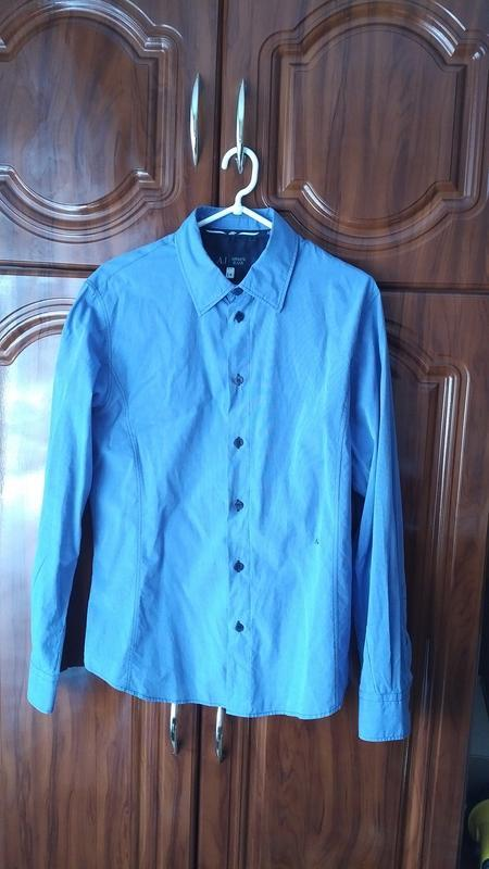 Мужская голубая рубашка armani jeans оригинал