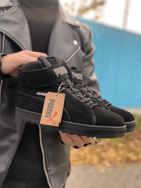 Puma winter boot  с мехом мужские зимние кроссовки зима чёрные...