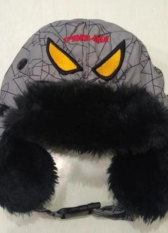 Зимняя шапка - ушанка spider-man на объём головы 50-52 см