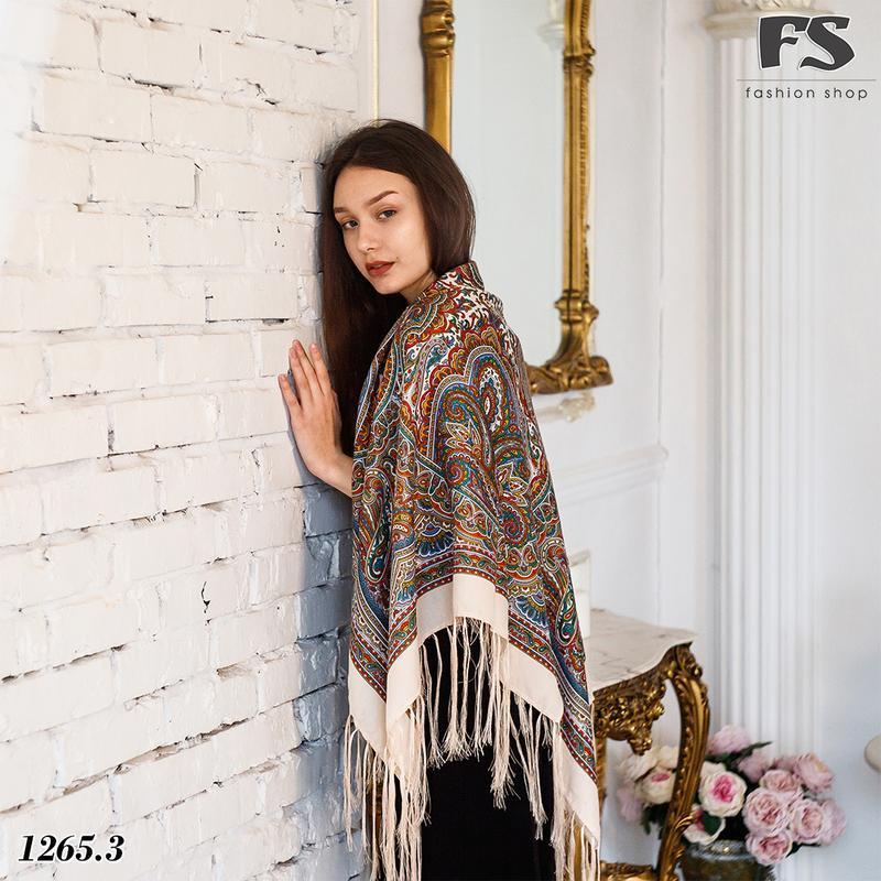 Кремовый павлопосадский шерстяной платок таира 1265.3