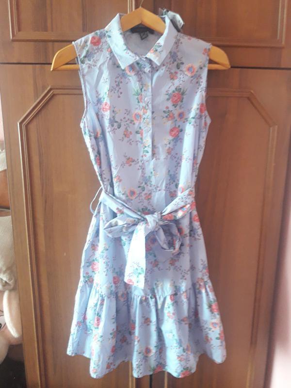 Полосатое платье в цветочный принт