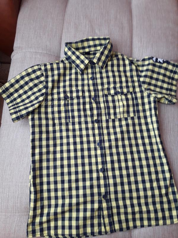 Рубашка с коротким рукавом в клетку 176 рост