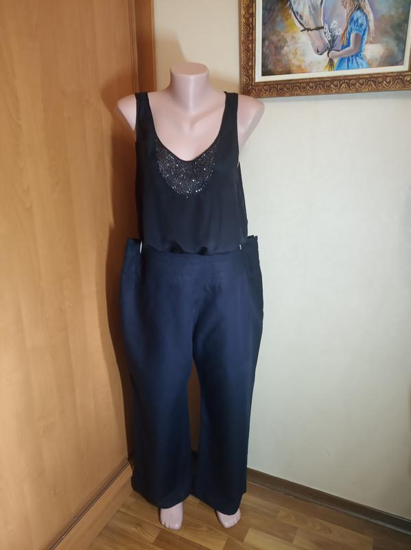 Брюки штаны лен летние большой размер 18 батал летние свободны...