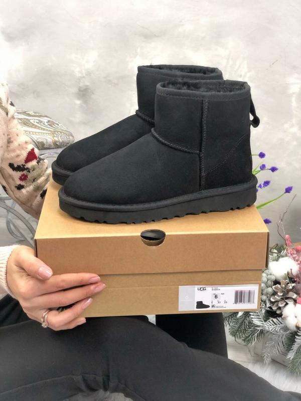 Ugg classic mini black натуральные женские зимние угги сапоги ...