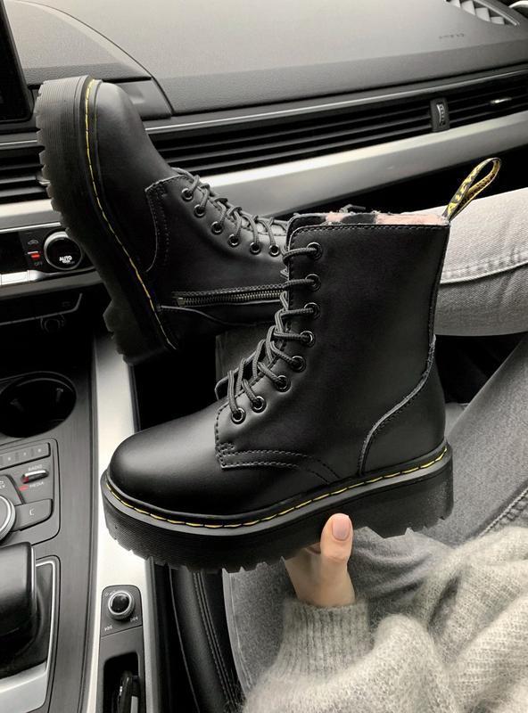 Dr. martens jadon black fur женские зимние ботинки мартинс с м...