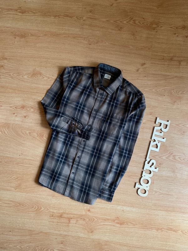 Рубашка в линейную клеточку кофейного цвета acw85