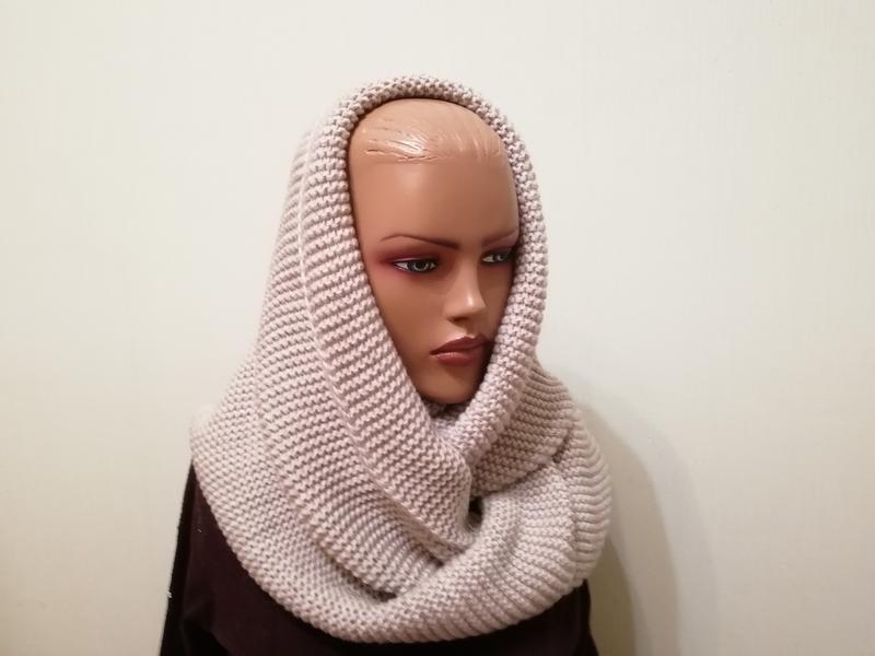 Стильный шарф хомут снуд светлый беж