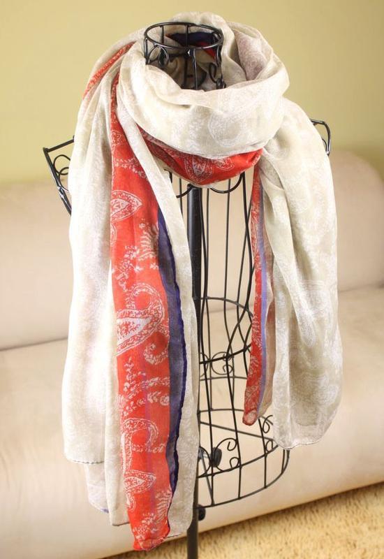 Большой  шарф из тонкого хлопка