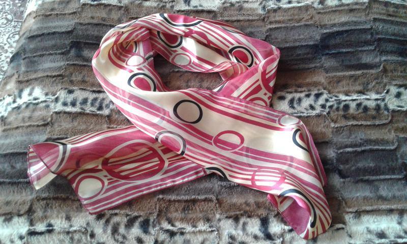 Шифоновый шарфик с атласными вставками