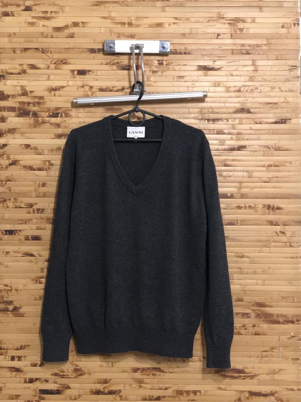 Брендовая кофта свитер пуловер шерстяной ganni чёрного цвета