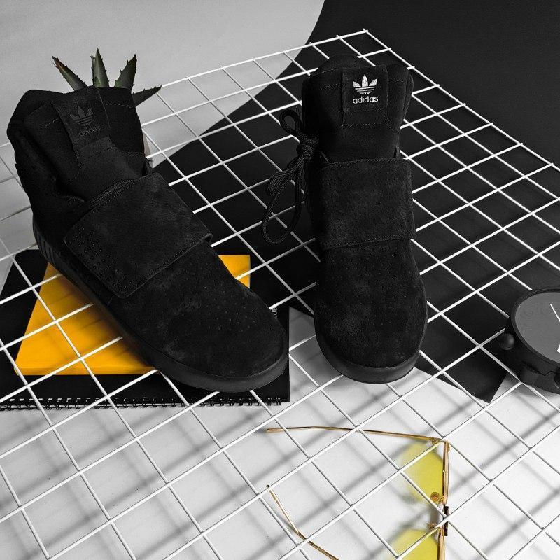 Шикарные мужские зимние кроссовки adidas tubular invader black...