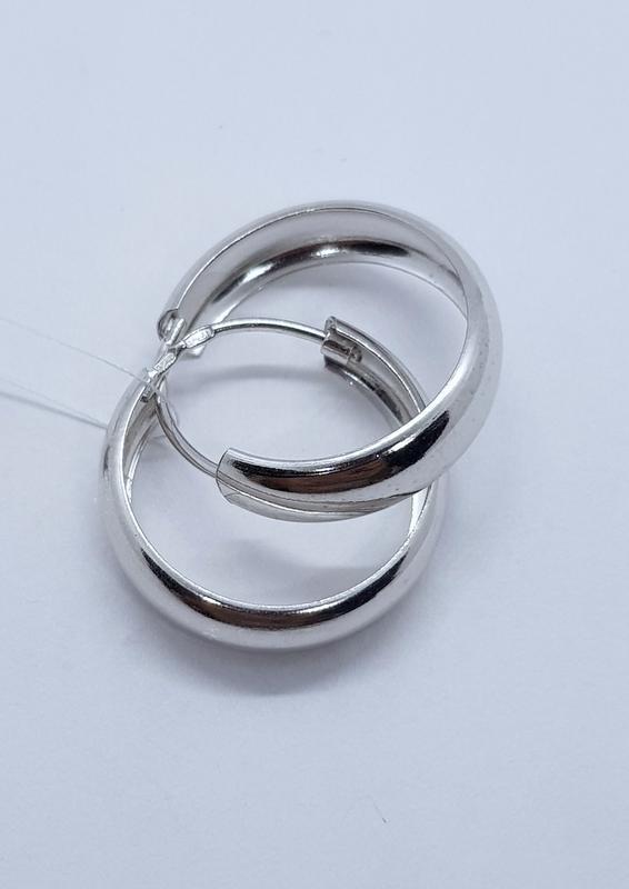 Серебряные серьги-кольца, конго широкие
