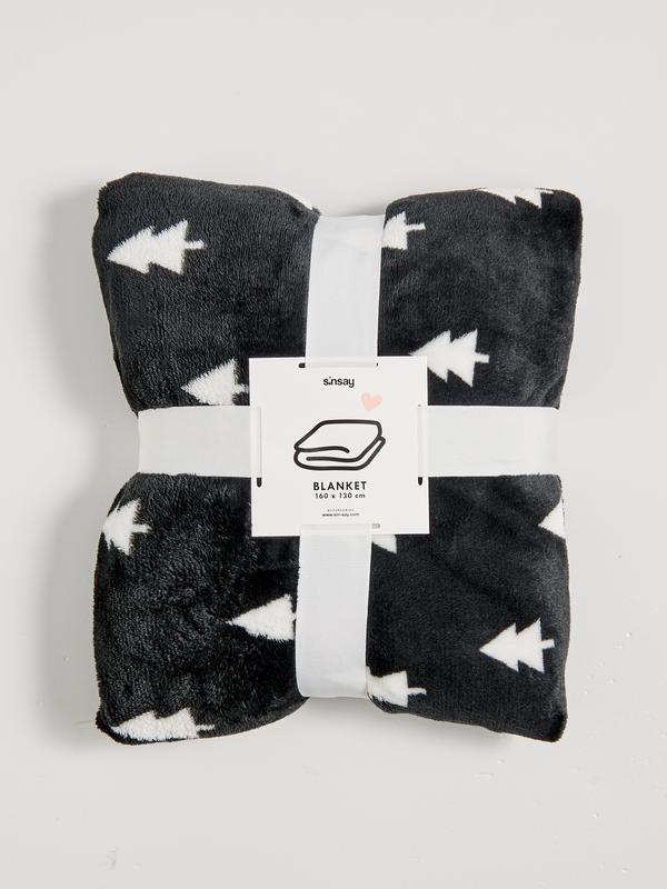 Новый пушистый мягкий черный плед одеяло покрывало польша узор...