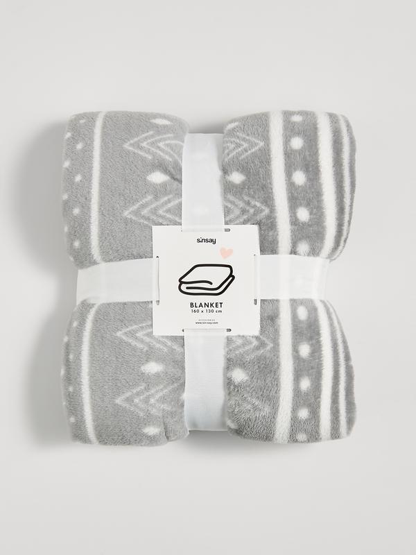 Новый мягкий серый плед одеяло покрывало польша белый узор пол...
