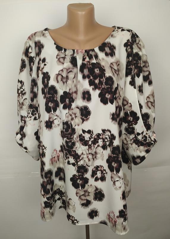 Блуза красивая легкая цветочная большой размер f&f uk 20/48/3xl