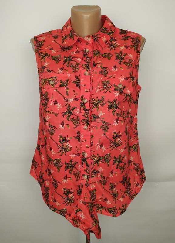 Блуза рубашка хлопковая на завязке спереди стильная tu uk 10/38/s