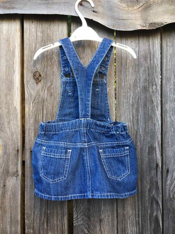 Комбинезон на девочку полукомбинезон джинсовый юбка - Фото 2